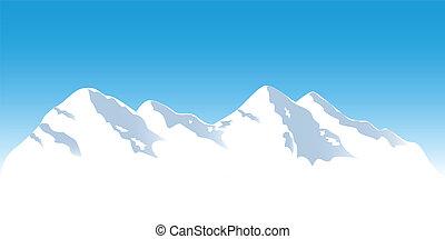 Snowy mountain tops in winter