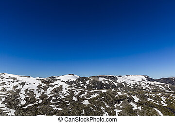 Snowy mountains against the blue sky