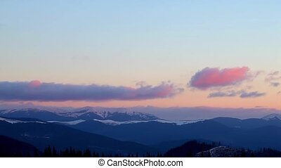 Snowy Mountains and Clouds - Winter time in Carpatian...