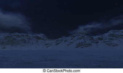 Snowy Mountains and Moon