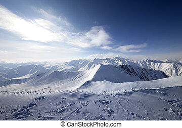 Snowy mountains. Caucasus Mountains, Georgia, ski resort Gudauri.