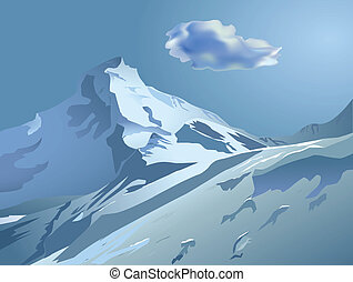 snowy mountains with blue sky and clouds