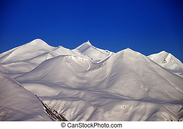Snowy mountains in morning