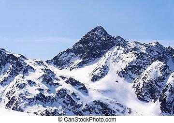 Snowy mountains in ski resort St. Jakob, Defereggen Valley, Austria