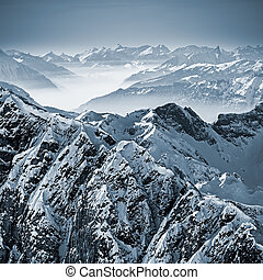 Snowy Mountains in the Swiss Alps - Snowy mountains in the...