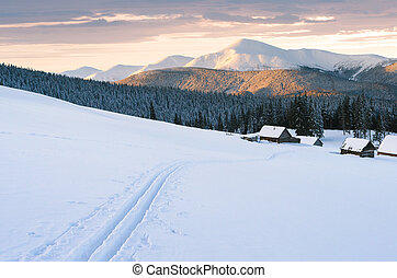 Snowy mountains in winter with ski tracks