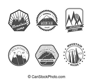 Snowy mountains labels collection - A collection of...