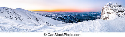 panorama of snowy winter mountains
