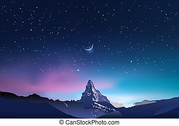 Snowy mountains, pink and blue night sky landscape with stars