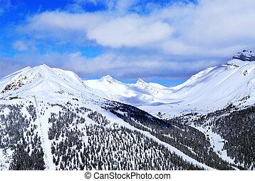 Snowy mountains - Snowy mountain ridge at Lake Louise ski ...