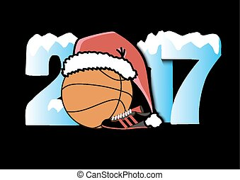 New Year numbers 2017 and basketball