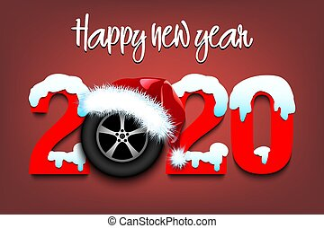 Snowy New Year numbers 2020 and car wheel