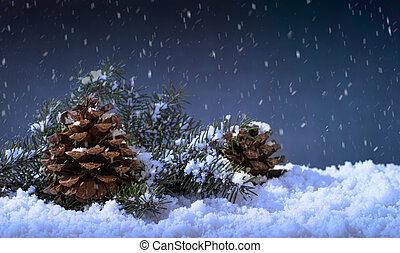 Snowy Night Setting With Pine Cones