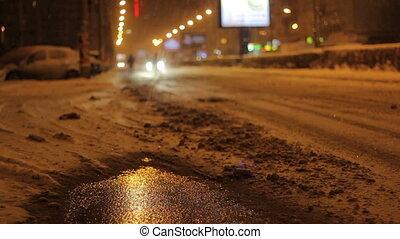 Snowy Night Street Traffic