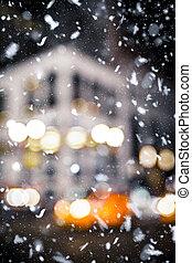 Snowy NYC Night Blur