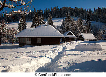 Snowy old wooden house in winter forest village