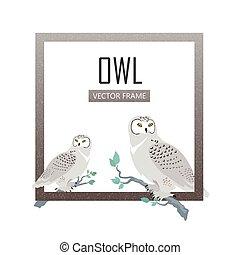 Snowy Owls Flat Design Vector Illustration