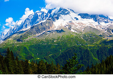 Snowy peak and green slopes of Aiguille Verte mountain, French Alps