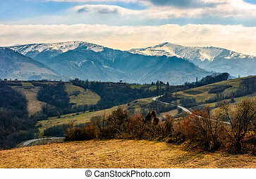 snowy peaks of Carpathian mountain ridge