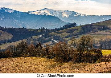 snowy peaks of Carpathian mountain ridge