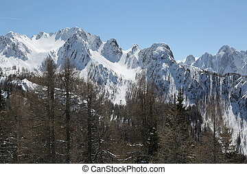 snowy peaks of the Alps after a winter snowfall - snowy...