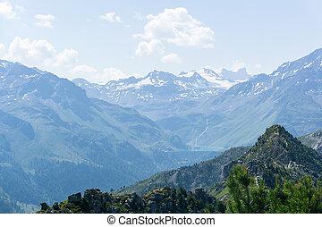 Snowy peaks of the Alps.