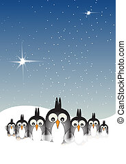 Snowy Penguins - A Hand drawn Illustration of six stylized...