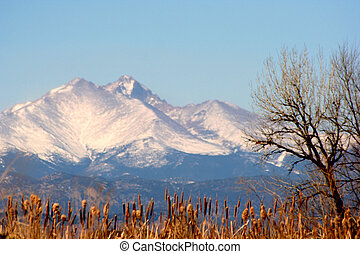 Pikes Peak covered in snow