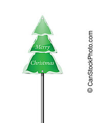 Snowy Pine Tree Road Sign with Merry Christmas