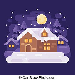 Snowy purple winter village landscape with a house. Christmas night flat illustration