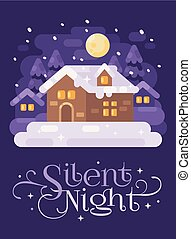 Snowy purple winter village landscape with a house. Silent Night Christmas flat illustration greeting card