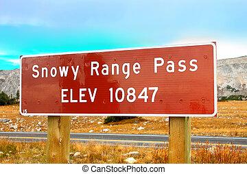 Snowy Range Pass Altitude Sign Wyoming