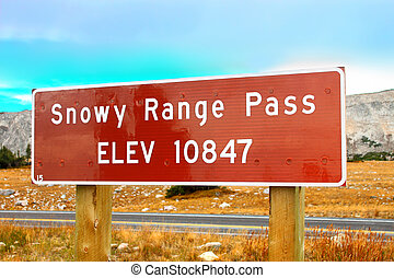 Snowy Range Pass Altitude Sign Wyoming