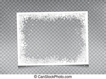 snowy rectangular frame template