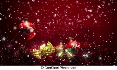 snowy red christmas background with