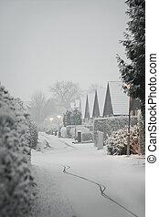 Snowy residential street