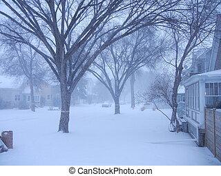 Snowy residential street - Residential street in snow storm