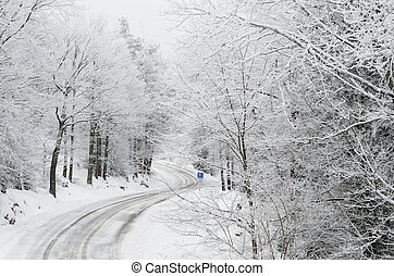Snowy road - a snowy road in the forest