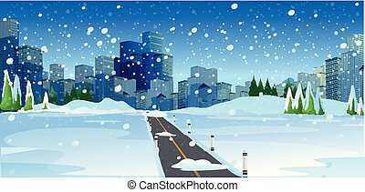 Snowy Road in Big Modern City