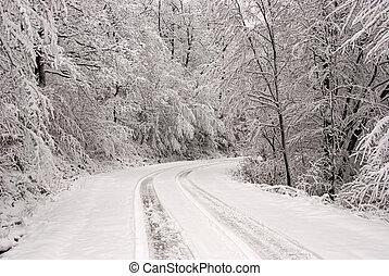 Snowy road in mountain