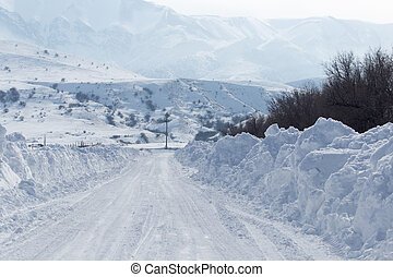 snowy road in the mountains