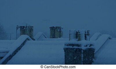 Snowy Rooftops In The Evening - House roofs in thick snow ...