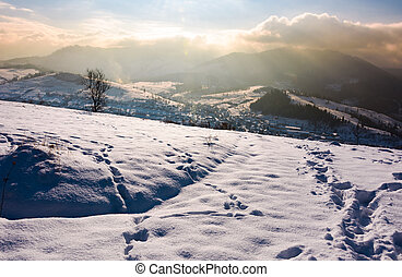 snowy slope in mountainous countryside. gorgeous weather...