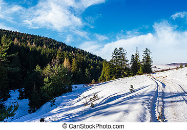 snowy slopes and forested hills. beautiful nature scenery in...