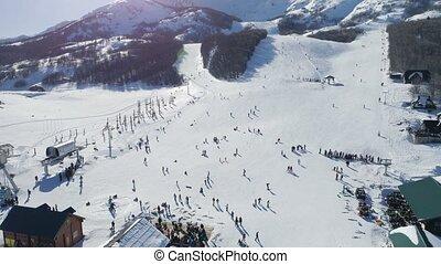 snowy slopes of Savin Kuk ski resort in Montenegro, aerial