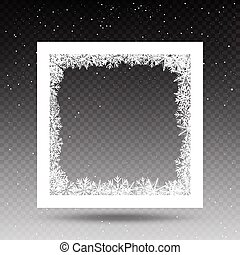 snowy square frame template - Snowy square frame template on...