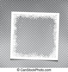 snowy square frame template