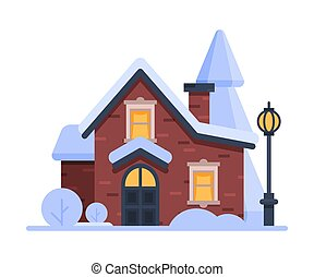 Snowy Suburban House, Cute Rural Winter Cottage with Vintage...