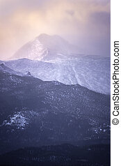 Snowy Sunrise on Longs Peak Mountain