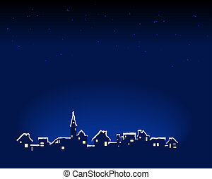 Snowy Town - Abstract vector illustration of a small town ...